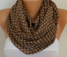 Brown Chiffon Infinity Scarf,Fall Scarf,Cowl,Circle Scarf Loop Scarf Gift Ideas For Her,Women Fashion Accessories http://etsy.me/2CCli36 #accessories #scarf #brown #birthday #valetine #fatwomanscarf #infinityscarf