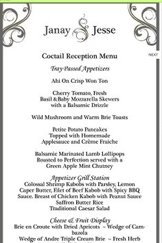 Sample Menu For Tail Reception Or Dinner With Stations