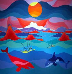 Ted Harrison lesson: use glue to paint lines, then paint gradient between them. Native Art, Native American Art, January Art, Winter Art Projects, Popular Artists, High School Art, Famous Art, Canadian Artists, Teaching Art