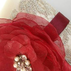 White satin ring bearer pillow with burgundy organza flower and silver lace - satin wedding pillow