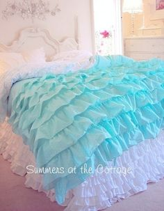 Aqua White Dot Duvet Comforter Cover Set