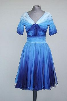 A gorgeous blue ombre Christian Lacroix dress from the 1980s. #vintage #ombre #fashion #dresses #nostalgia