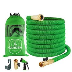 Garden Hose - 50 Foot Green - Expanding Extra Strength Stretch Material with Brass Connectors - Bonus 8 Way Spray Nozzle, Carrying Bag and Hanger - by Joeys Garden Dog Cleaning, Cleaning Spray, Water Hose, Brass Fittings, Lawn And Garden, Amazing Gardens, Solid Brass, Coin Purse, Strength