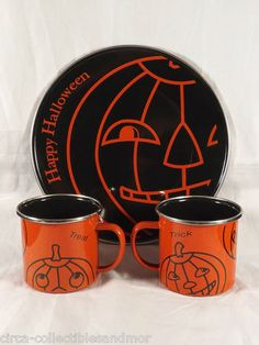 halloween plate 2 cups tin metal seasons of cannon falls enameled trick or treat