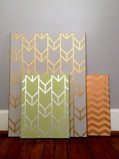 Love these patterns. DIY Metallic-Designed Canvas Spray paint selected canvas gold Use painter's tape and create desired design Once covered with design, spray paint in a different color Carefully peel off the painter's tape and let dry Gold Canvas, Diy Canvas, Painted Canvas, Canvas Art, Canvas Paintings, Bathroom Paintings, Portrait Paintings, Blank Canvas, Hand Painted