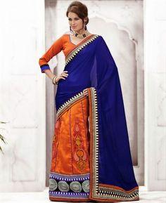 Buy Good-Looking Blue And Orange Lehenga Saree online at $64.38 [APRD3326]