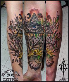 Custom work, done in 6h) tattoo, tattoos, art, illuminati, triangle, eye, clock, tree