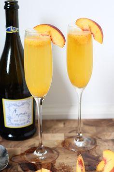 Peach Sorbet Bellini- 4 oz champagne or prosecco, 1 small scoop  Peach Sorbet, 1 peach slice