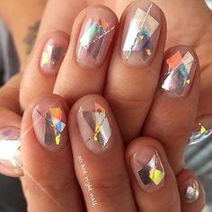 Rad scrap foil mani ✨ #Inspo via @sohotrightnail
