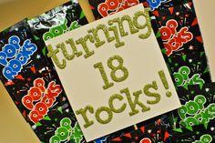 Turning 18 rocks - Pop Rocks birthday gift.