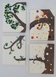 Canvas Button Tree Four Seasons by @TheWrightBoutique, $49.99