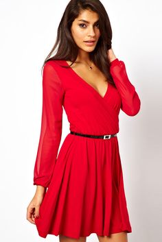 Sexy Wrapped Neck Skater Jersey Dress with Belt