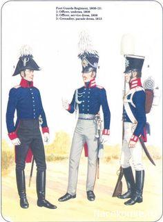 Prussian Line Infantry 1792-1815 Foot Guards Regiment 1808-13 1-Officer, undress 1808 2-Officer,service dress 1808 3-Grenadier,parade dress 1813