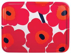 Marimekko Pieni Unikko Red Tray in Kitchen and Table Green And Orange, Red And Pink, Pink White, Marimekko, Crate And Barrel, Crate Bar, Melamine Tray, Glass Centerpieces, Warm Blankets