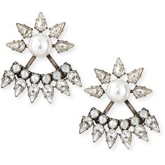 Dannijo Tessie Crystal Jacket Earrings (1,020 MYR) ❤ liked on Polyvore featuring jewelry, earrings, silver, earrings jewelry, dannijo jewelry, oxidized jewelry, stud earrings and crystal stone jewelry