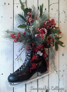 SALE - from SavannahsCottage on etsy.com - Wreath, Ice Skate, Holiday Skate, Christmas Skate, Decoration, Door decor, wall decor, Rustic Cottage, Black skate