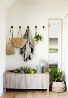 a plant-filled entryway with extra storage