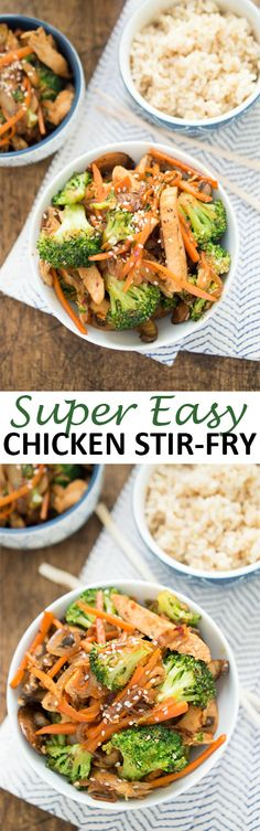Easy 30 Minute Chicken Stir Fry loaded with vegetables and tossed in a spicy Asian sauce.   chefsavvy.com #recipe #chicken #stir #fry #asian #dinner