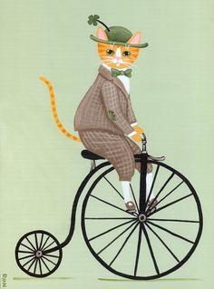 Dandy Irish Cat on a Bicycle Original Folk Art by KilkennycatArt (Ryan Conners)