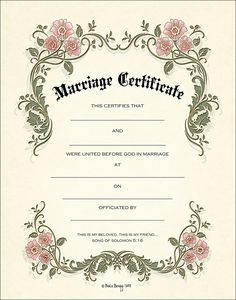 marriage certificate 05 microsoft pinterest wedding