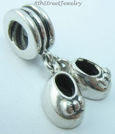 Adorable European Bead Sterling Silver 925 Dangling Baby Girl Shoes Charm  #Unbranded #European
