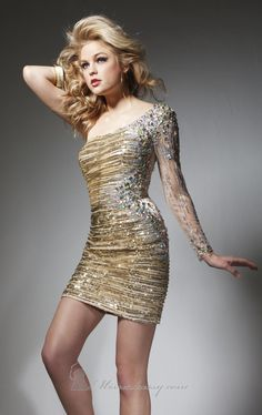 Asymmetrical Sequined Dress by Tony Bowls Shorts, Shop it here: http://www.missesdressy.com/dresses/designers/tony-bowls/tony-bowls-shorts/ts21324 #sheer #sequins #beads #mini #MissesDressy