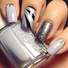 Essie greys and glitter nails Funky Nails, Glam Nails, Hot Nails, Beauty Nails, Hair And Nails, Silver Nails, Glitter Nails, Fabulous Nails, Gorgeous Nails