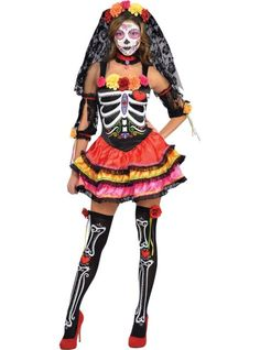 Perfect since we're getting married in Mexico this coming year!  Adult Day of the Dead Senorita Costume - Party City