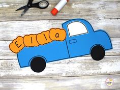 Kindergarten Crafts, Kindergarten Classroom, Preschool Crafts, Fall Bulletin Boards, Bulletin Board Display, Truck Crafts, Name Practice, Little Blue Trucks, School Tomorrow
