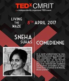 Sneha Suhas ! You are gonna be a tedx speaker now  Yaay!  Congratulations & All the best   Check TEDxCMRIT on Facebook and book your tickets! #Tedx #Speaker #Friend #comedians #comedienne #snehaSuhas #Humble #Talented #girl #Bangalore