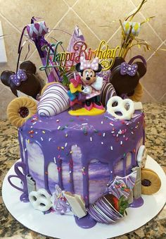 Purple Minnie Mouse Loaded Drip Cake Made by Delilah M.