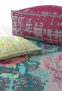 Modern Cross-Stich Inspired rugs, pouffes and pillows in bright colors - Pursuitist Cross Stitching, Cross Stitch Embroidery, Cross Stitch Patterns, Art Du Fil, Cross Stitch Pillow, Modern Cross Stitch, Needlepoint, Needlework, Shabby