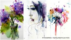 Watercolor painting ideas use the simple technique of blending different hues and water to create a diffuse delicate vibe.