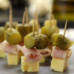 Brochettes jambon gruyère cornichon