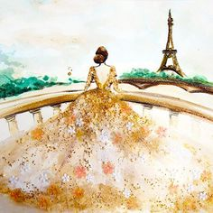 Chan Clayrene of Artclaytion uses nail polishes, matte and sparkly alike, as the ink for her glamorous illustrations of haute couture gowns.