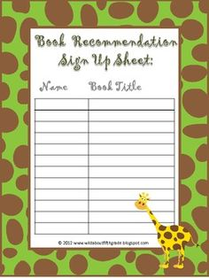 Use this FREE book recommendation sign up sheet in your classroom for students to sign up for daily, weekly, or online book recommendations.