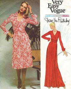 38a5253e94 Iconic 70s Diane Von Furstenberg Womens Wrap Dress Vogue Sewing Pattern  1549 Size 12 Bust 34 UnCut Vintage Vogue American Designer Pattern
