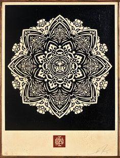 """Shepard Fairey  Mandala Ornament 1 (Dark) 2011  18"""" x 24""""  Screenprint on wood"""