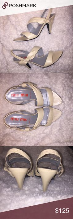 "Miu Miu heel sandals In used but very good condition. Heel height is 3.5"". Miu Miu Shoes Heels"