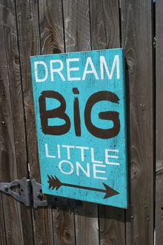 Dream Big Little One Boys Nursery Sign Girls Nursery Sign Shabby Chic Nursery Vintage Nursery Distressed Wood Sign Turquoise Nursery