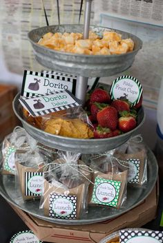 Fun snacks at a garbage truck birthday party!  See more party planning ideas at CatchMyParty.com!