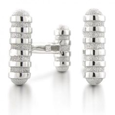 Bling Mens 925 Sterling Silver Groove Design Modern Cufflinks