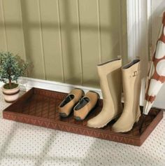from Ballard Designs, great shoe pan for mudroom or entry