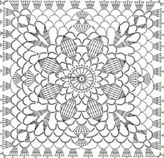 Transcendent Crochet a Solid Granny Square Ideas. Inconceivable Crochet a Solid Granny Square Ideas. Crochet Skirt Pattern, Crochet Motif Patterns, Crochet Doily Diagram, Crochet Chart, Filet Crochet, Crochet Doilies, Crochet Flowers, Motifs Granny Square, Granny Square Crochet Pattern