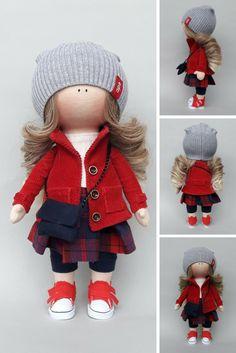 Cloth doll Fabric doll Tilda doll Rag doll Textile doll Muñecas Handmade doll Bonita doll Art doll Red doll Soft doll Baby doll by Irina E