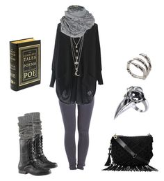 """""""Dark mori with jeans"""" by shortcuttothestars ❤ liked on Polyvore featuring Pieces, A Postcard From Brighton, UGG Australia and Bernard Delettrez"""