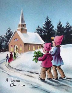 Old Christmas Post Сards —   Children Walking to Church  (618x800)
