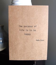 Dalai Lama quote  Note Card  Be Happy  Kraft  by LittleWhiteMouse, $3.00 #quote #DalaiLama