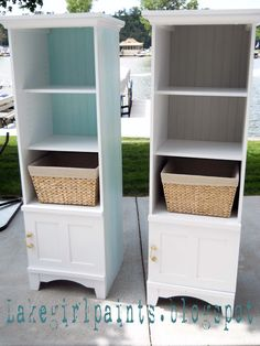 Redo entertainment center...add baskets for storage instead of display shelves; change back to bead board