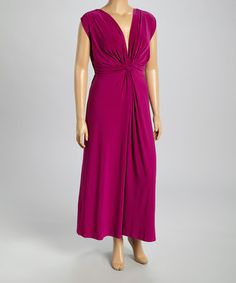 Another great find on #zulily! Berry Empire-Waist Maxi Dress - Plus by Paper Doll #zulilyfinds